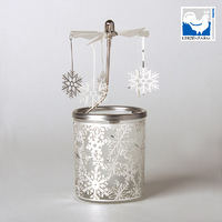 SNOWFLAKE GLASS CANDLE CAROUSEL