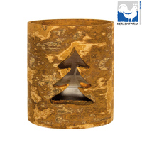 CHRISTMAS TREE CINNAMON GLASS CUP FOR TEALIGHT CANDLE