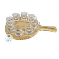 ROUND SCHNAPPS SERVING BOARD WITH 8 GLASSES