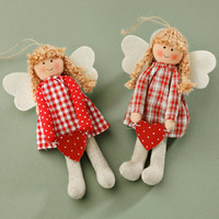ANGEL RED GINGHAM CHECK WITH HEART 18CM