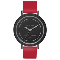 DONALD YOUNG BLACK DIAL RED SILICONE BAND BY UNCLE JACK