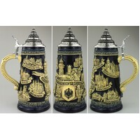 DEUTSCHLAND BEER STEIN WITH PEWTER LID BY KING