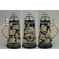 Rhein Beer Stein With Pewter Lid By KING
