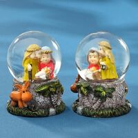NATIVITY WITH DONKEY SNOW GLOBE 4.5CM 2 DESIGNS