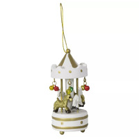 White Wooden Carousel Christmas Tree Decoration 10cm