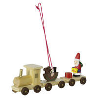 TRAIN IN NATURAL WOOD TREE DECORATION 5CM