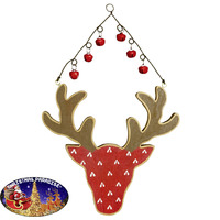 Deer With Bells Red Hanging Decoration 23cm