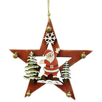 STAR WITH SANTA & BELLS RED HANGING DECORATION 13CM