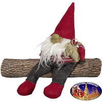 GNOME GREY AND RED SITTING 15CM