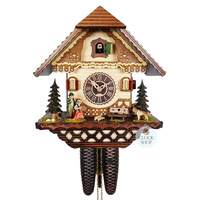CHALET 8 DAY MUSICAL COUPLE WITH DOG 32CM CUCKOO CLOCK BY TRENKLE