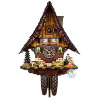 CHALET 8 DAY MUSICAL COUPLE WITH DOG SHINGLE ROOF CM CUCKOO CLOCK BY TRENKLE