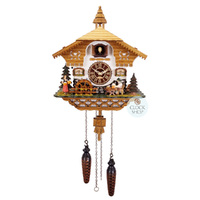 CHALET BATTERY BEER DRINK AND WATER WHEEL 29CM CUCKOO CLOCK BY TRENKLE