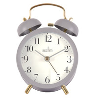SIGRID - GREY DOUBLE BELL ALARM CLOCK BY ACCTIM