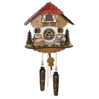 CHALET BATTERY FARMERS SON WITH PIGS IN BARROW 26CM CUCKOO CLOCK BY TRENKLE