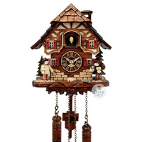 Chalet Battery Erzgebirge Wood Vendor Figurines 20cm Cuckoo Clock By TRENKLE