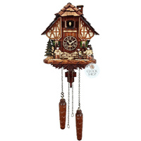 CHALET BATTERY ERZGEBIRGE FIGURINES WOOD COLLECTORS 23CM CUCKOO CLOCK BY TRENKLE