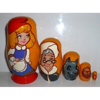 LITTLE RED RIDING HOOD RUSSIAN NESTING DOLLS SMALL 5 SET 11CM