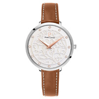 EOLIA -SILVER WHITE DIAL BROWN LEATHER BAND BY PIERRE LANNIER