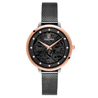 EOLIA - ROSE GOLD BLACK DIAL BLACK MESH BAND BY PIERRE LANNIER