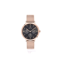 MULTI FUNCTION - ROSE GOLD BLACK DIAL ROSE GOLD MESH BAND BY PIERRE LANNIER