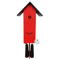 MODERN RED SIMPLE LINE 41CM CUCKOO CLOCK BY ROMBA