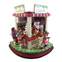 Santa's Snack Shop Music Box With Moving Tree And Lights With 8 Tunes