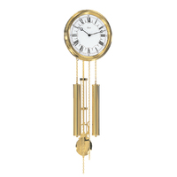 Round Chiming Battery Wall Clock With Pendulum By HERMLE