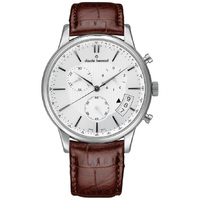 Classic Chronograph Collection Silver Case Silver Dial Brown Leather Strap By CLAUDE BERNARD