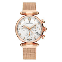 Dress Code Chronograph Collection Rose Gold Case White Dial Rose Gold Mesh Strap By CLAUDE BERNARD