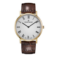 SLIM LINE COLLECTION GOLD CASE WHITE DIAL BROWN LEATHER STRAP BY CLAUDE BERNARD