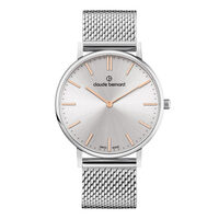 Slim Line Collection Silver Case Silver & Rose Gold Dial Silver Mesh Strap By CLAUDE BERNARD