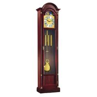 WALNUT WESTMINSTER CHIME GRANDFATHER CLOCK WITH GOLD COLLARS BY HERMLE