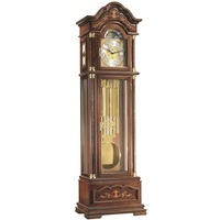 Walnut Triple Chime Grandfather Clock With Wood Inlay, Tubular Chime By HERMLE