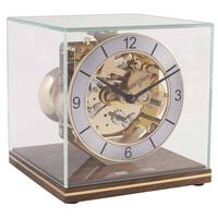 WALNUT MECHANICAL SKELETON TABLE CLOCK SQUARE GLASS CASE BY HERMLE
