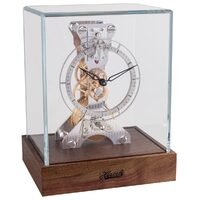 DARK WALNUT MECHANICAL SKELETON TABLE CLOCK WITH SQUARE GLASS CASE BY HERMLE