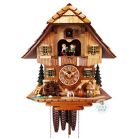 CHALET ACCORDION PLAYER WITH DOG AND WATER WHEEL BY SCHNEIDER