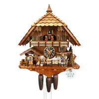 CHALET TOY PEDLAR WITH OMA AND OPA AND WOOD CARVER CUCKOO CLOCK 50CM BY HONES