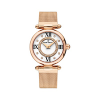 DRESS CODE COLLECTION ROAE GOLD CASE WHITE DIAL ROSE GOLD MESH STRAP BY CLAUDE BERNARD