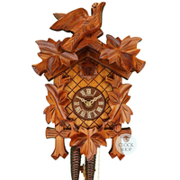 CARVED 8 DAY 5 LEAF WITH BIRD ON TOP 30CM CUCKOO CLOCK BY SCHNEIDER