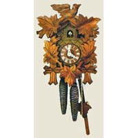 CARVED 8 DAY 5 LEAF WITH BIRD ON TOP 32CM CUCKOO CLOCK BY SCHNEIDER