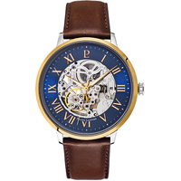 Gold Automatic Skeleton Watch - Blue Dial Brown Leather Band By PIERRE LANNIER
