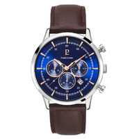 CAPITAL CHRONOGRAPH - SILVER BLUE DIAL BROWN LEATHER BAND BY PIERRE LANNIER