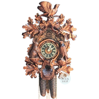 CARVED 8 DAY LEAF WITH RABBIT & EAGLE ON SIDE OF DIAL FULL BIRD ON TOP 42CM CUCKOO CLOCK BY HONES