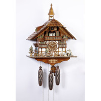 Chalet 8 Day Clock Seller With Sawing Men, Dog And Bell Tower 60cm Cuckoo Clock By SCHNEIDER
