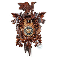 CARVED 1 DAY LEAF WITH BIRDS 35CM CUCKOO CLOCK BY HONES
