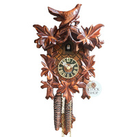 CARVED 1 DAY 5 LEAF WITH FULL BIRD ON TOP 25CM CUCKOO CLOCK  BY HONES