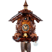 CARVED 8 DAY BEARS WITH HONEY BASKET 40CM CUCKOO CLOCK BY HONES