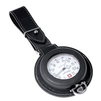STAINLESS STEEL NURSES/WORKERS POCKET WATCH WITH BLACK LEATHER POUCH BY CLASSIQUE
