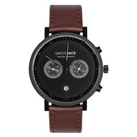 BLACK CHRONO BLACK DIAL BROWN LEATHER BAND BY UNCLE JACK