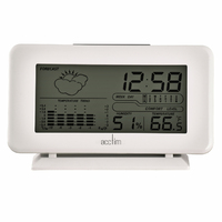 Vega - White LCD Clock With Weather Station By ACCTIM